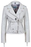 'CLASSIC BRANDO Ladies White Biker Style Cruiser Hide Leather Jacket MBF