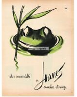 1960 HANES Seamless Stockings Nylons Green Frog art Vtg Print Ad
