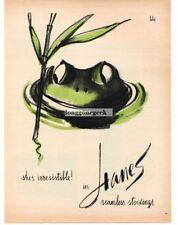 1960 HANES Seamless Stockings Nylons Green Frog art Vintage Ad