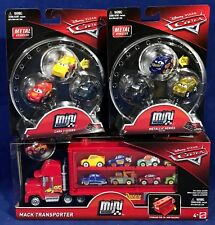 NEW Pixar Cars MINI RACERS LOT Mack Transporter 7 METAL VEHICLES Metallic Series