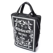 Poizen Industries Gotica Goth occulto stregoneria libro Borsa Vegan in pelle NERO BN