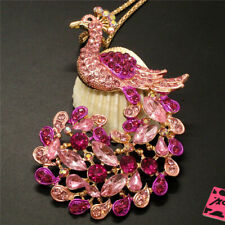 New Betsey Johnson Pink Crystal Peacock Bling Animal Necklace Sweater Chain
