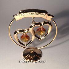 50th Golden Wedding Anniversary Gift Ideas Gold Plated+ Swarovski Crystals SP250