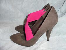 Zara WOMEN'S Marrón/Rosa Cuero Zapatos Taco Slip On Elástico Size UK 6 EU 39 en muy buena condición