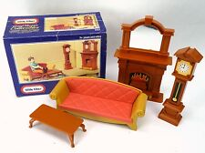 Little Tikes Grand Mansion Dollhouse LIVING ROOM Set Clock Fireplace Sofa Table