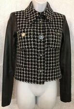 Chanel Jacket Black And White Tweed With Black Leather Sleeves Size 36