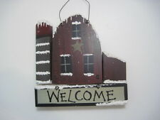 Primitive Looking Barn with Star and Silo Winter Welcome Sign Xmas Christmas