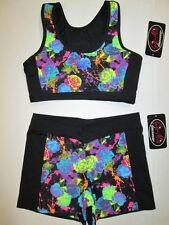 NEW Crop Bra Top Shorts Set Size MC Medium Child Black Lot of 2 Dance Gymnastics