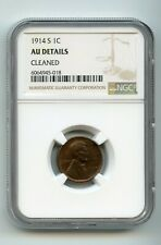 1914-S 1C Lincoln Wheat Cent (AU DETAILS CLEANED) NGC