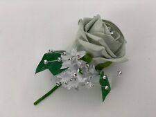 wedding buttonhole rose flower bouquet corsage purple groom best man single pin