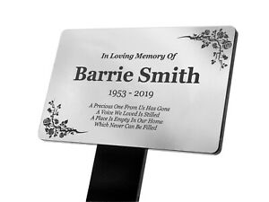 Personalised Silver Memorial Plaque Stake - Grave Marker Ornament Outdoor Garden