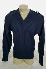 DSCP Military Sweater Men Size 50R 100% Wool Long Padded Sleeve V Neck Blue
