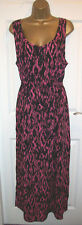 NEW LADIES GEORGE MAXI DRESS SIZE 16, Black & Pink long Summer Sun Beach Dress