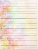 "Watercolor Floral Lined Stationery 8.5""X11""  25 sheets and 10 color envelopes"