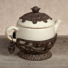"""GG Collection Gracious Goods Teapot With Metal Holder 9"""" 31827 Cream"""