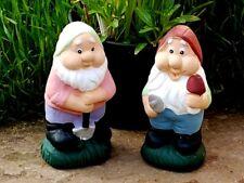 2x Terracotta Garden Dwarfs Gnomes 7 inch tall Lawn Ornaments statues Grass
