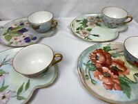 Vintage Hand Painted Porcelain Plates & cups Japan Gold Trim (4 plates & 4 cups)