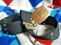 ORIGINAL  AUSTRALIAN ARMY NYLON BANDSMAN BELT WITH BRASS AND BUCKLE 90 CM SIZE