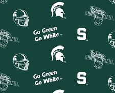 Package of Short Pieces Michigan State MSU Green 035 Fleece Fabric Print D007.04