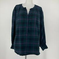 J. Crew Womens Top Open V Neck Popover Long Sleeve Plaid Green Blue Size Small
