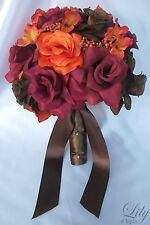 17pcs Wedding Bridal Package 7 Bouquets Plus More Silk Flowers Fall Orange Brown