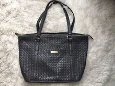 Cole Haan Gray Woven Leather Tote Bag Purse