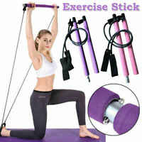 Portable Pilates Bar Resistance Band Yoga Pilates Stick Home Gym Fitness Bar New