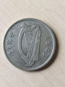 1943 Eire Ireland Silver Half Crown