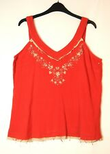RED LADIES CASUAL TOP BLOUSE VEST V-NECK SIZE 14 COTTON CLASSICS COLLECTION