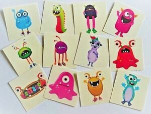 72 MONSTER Temporary Tattoos Kids Boys Girls Childrens Party Loot Bag Fillers