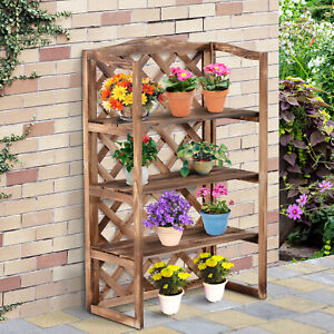 Outsunny 3-Tier Wooden Flower Stand Plant Holder Shelf Display Rack
