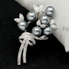 2016 Latest Gold Silver Color Rhinestone Crystal Pearl Flower Brooch Pin Gift