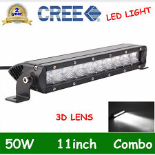 11Inch CREE 50W LED Light Bar OffRoad Driving Single Row SUV 4WD SPOT FLOOD SLIM