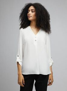Dorothy Perkins Womens Ivory Two Button Roll Sleeve Blouse V-Neck Top Wear
