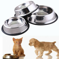EG_ 1X 2X LOT PCS STAINLESS STEEL PET DOG CAT FOOD NON SLIP BOWL METAL DISH LOVE
