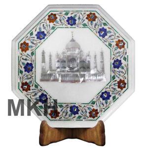 Marble Coffee Table Inlay Gem Stones Taj Mahal Side Table Top Vintage Wood Stand