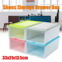 Plastic Clear Drawer Home Shoe Storage Box Stackable Organiser Case Foldable