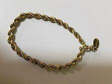 """Vintage Park lane  tennis rope bracelet .6 1/4"""" long. Excellent condition. Gold."""