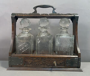 Antique BLACK FOREST Wood CARVED ARTS & CRAFTS Old LIQUOR DECANTER TANTALUS SET