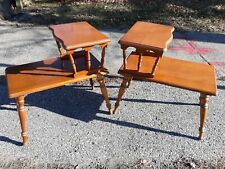 Vintage Traditional American Pine Wood Tier Step Dowel End Table Matching Set