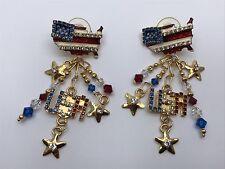 Lunch At The Ritz Post Earrings ~USA FLAG PATRIOTIC THEME~ Enamel Rhinestones