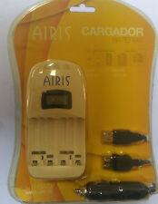 AIRIS Akku Schnell Ladegerät mit LCD Display Auto USB Batterieladegerät AA & AAA