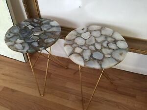 """Agate Blue White Round Side Table Pair Two Lot Gold Legs Stone Marble 16x22,5"""""""
