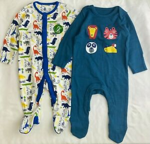 NEW Ex Store 2 Pack Baby Boys Dinosaurs Lions Soft Cotton Sleepsuits Babygrows