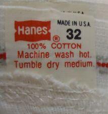 Nos Vtg 80s Hanes 100% Cotton Tighty White Briefs sz 32 Usa Made Unworn