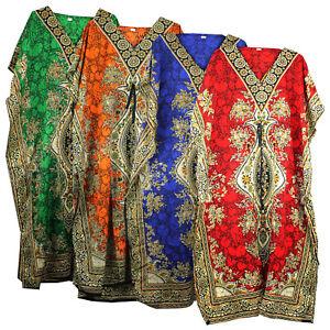 Womens Long Kaftan Dashiki Summer Tunic Holiday Dress Beach  fits UK Size 12-26