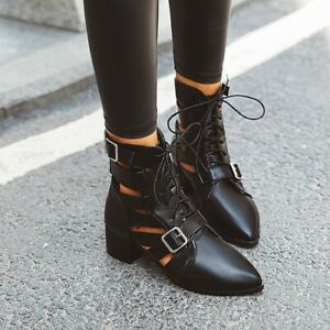 Women's Ankle Boots Block Mid Heels Motorcycle Booties Pointed Toe Casual Shoes