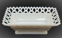 VINTAGE WESTMORELAND GLASS MILK WHITE RECTANGULAR DISH OPEN LACE EDGE