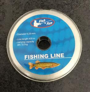 Fish & Fun 430m 0.25mm 5kg Spool Nylon Fishing Line Monofilament Clear Crystal