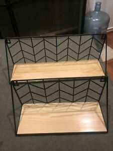 Set of 2 Wall Floating Shelves Rustic Wood Storage with Metal Wire Display Shelf